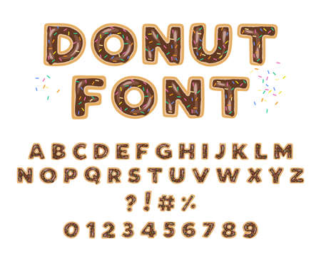 Donut vector typography with chocolate icing and colorful sprinkles