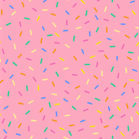 Seamless sprinkles pattern with candy colors. Ideal for backgrounds, wrapping paper, cards, etc. Ilustração Vetorial