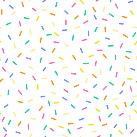 Seamless sprinkles pattern with candy colors. Ideal for backgrounds, wrapping paper, cards, etc. Illustration
