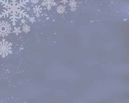 A silvery blue colored background with snowflakes falling from the top edge in multiple sizes.