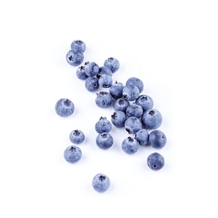 Blueberries isolated on white with clipping path. Top view superfood blueberry Stockfoto
