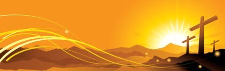 cristianismo: La ilustraci�n vectorial contiene la imagen Banner con una cruz de pascua
