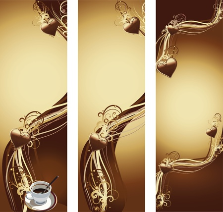 vectol illustration contains the image of banner with cup of coffee and chocolate texture with hearts