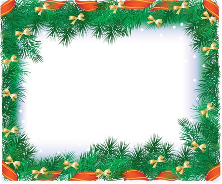 vector illustration contains the image of Christmas frame with the branches of Christmas tree and red ribbon