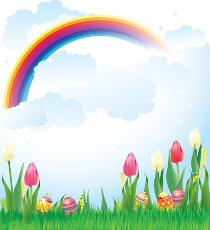 vector illustration contains the image of the Easter banner with flowers and eggs Illustration