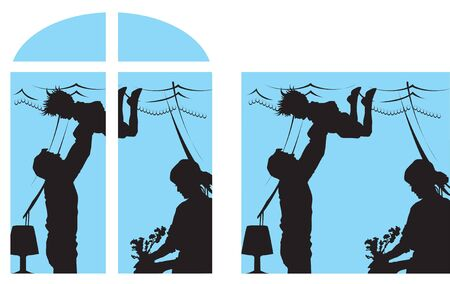 vector illustration contains the image of a silhouette of a family in their home
