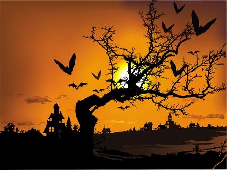 Ilustración del vector contiene la imagen del paisaje de Halloween