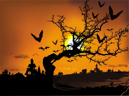 Vector illustration contains the image of Halloween landscape