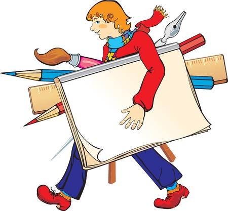 illustration vectorielle contient l'image de la jeune artiste avec ses outils d'art