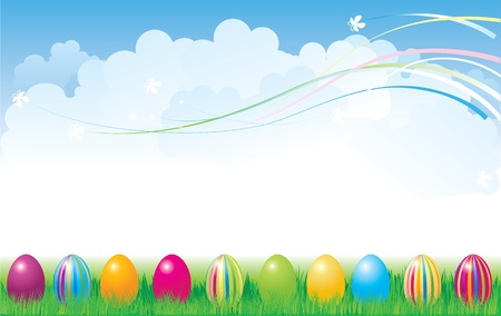 nature picture: vector illustration contains banner with the Easter eggs in grass