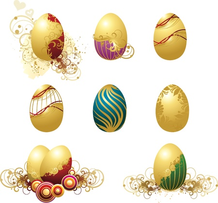 vector illustration contains the image of a set of colored Easter eggs