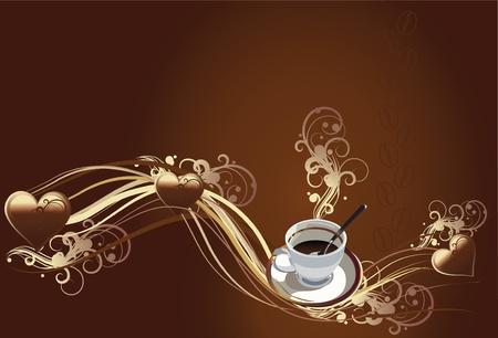 cafe colombiano: ilustración vectorial contiene la imagen de una taza de café y la textura de chocolate con corazón de chocolate
