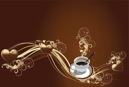 vector illustration contains the image of a cup of coffee and chocolate texture with chocolate hearts