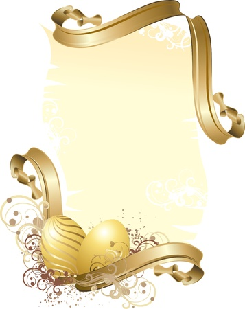 Vector illustration contains the image Easter frame with gold Easter eggs Vector