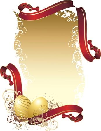 letras de oro: Ilustraci�n del vector contiene la imagen de una ilustraci�n vectorial contiene los saludos de Pascua de imagen con cintas rojas y los huevos de oro