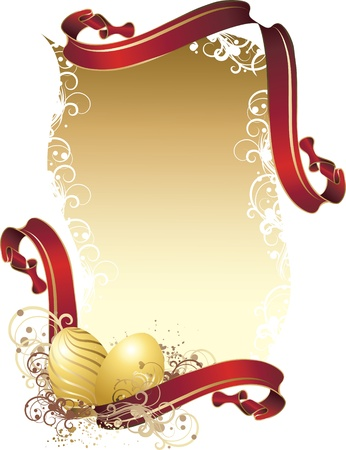 Vector illustration contains the image of a Vector illustration contains the image Easter greetings with red ribbons and golden eggs