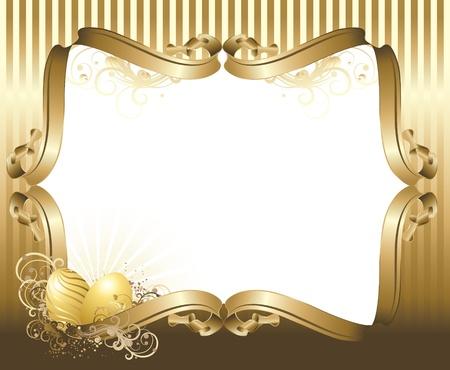 bilderrahmen gold: Vector Abbildung enth�lt das Bild Ostergr��e mit goldenen Eiern Illustration