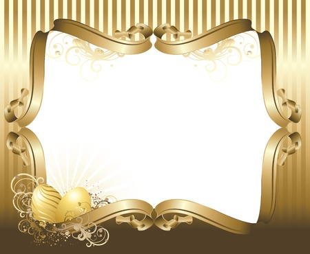 Vector illustration contains the image Easter greetings with gold eggs