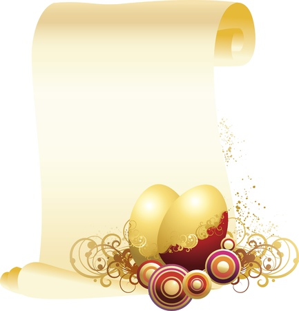 vector illustration contains the image of Easter eggs and a congratulatory letter Illustration