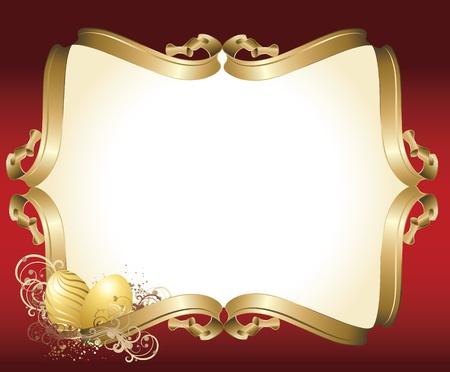 uova d oro: Illustrazione vettoriale contiene l'immagine di un saluto di Pasqua con sfondo rosso e uova d'oro Vettoriali