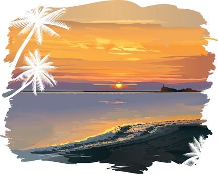 daybreak: ilustraci�n del vector contiene la imagen del paisaje marino tropical hermoso con un faro