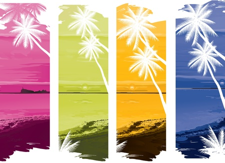 vector illustration contains the image of a set of colorful tropical ocean banners
