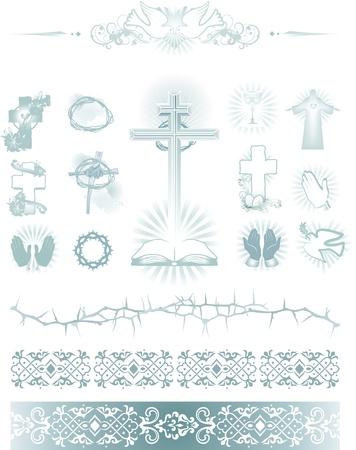 pfingsten: Religionen simbol Symbole und Muster Illustration