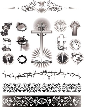 jesus cross: illustration contains the image of set images of religions simbol. icons and pattern