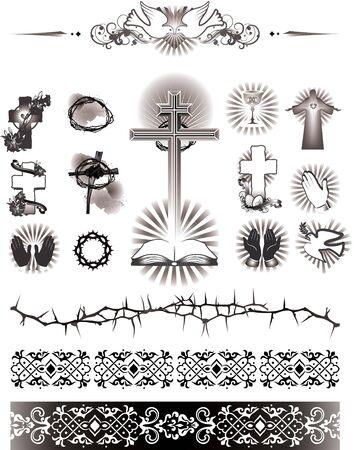 Ilustracja zawiera obraz przedstawionych obrazów simbol religii. Ikony i wzór