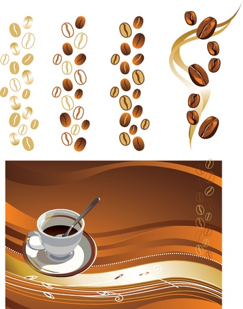 illustration contains the image of Cup of coffee and coffee texture Stock Vector - 14491504