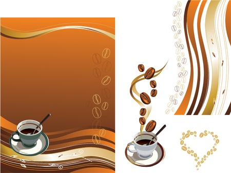 Vector illustration contains the image of Cup of coffee and coffee texture