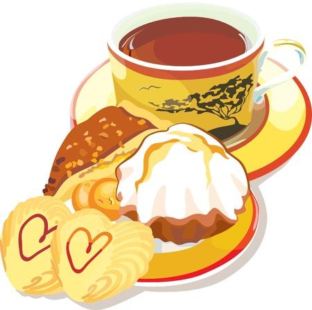 tarde de cafe: ilustración contiene la imagen de la taza de café y galletas