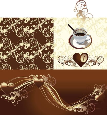 illustration contains the image of cup coffee or  tea, coffee grains, Coffee beans seamless pattern  and chocolate hearts