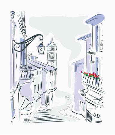 baranda para balcon: dibujo calle del casco antiguo Vectores