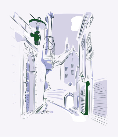 drawing old town street Vector