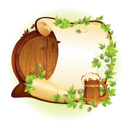 vector banner with barrel and beer and a place for an inscription