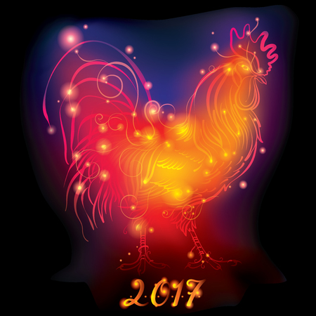 Fire Rooster. New Year Greeting Card with Symbol of 2017 - Illustration