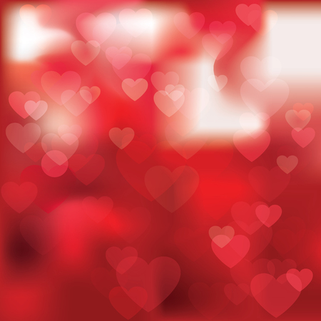 Elegant abstract red background with hearts and place for text. Vector illustration for Valentines day or wedding which can be used for greeting card, banner, Declaration of love.