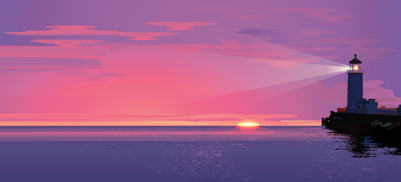 Vector sea landscape with lighting lighthouse at sunset or sun rise.