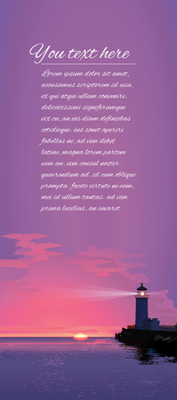 Seascape with lighthouse and a place for text at sunset