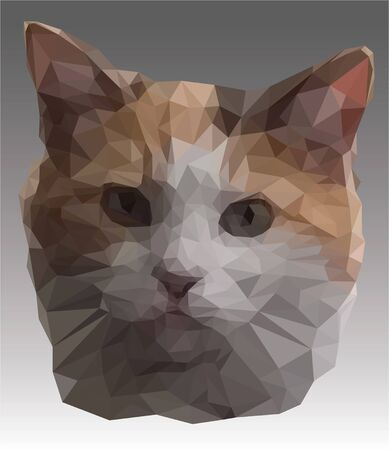 Vector banner with cat head on the grey background. Low poly illustration of the cute pussycat with big ears in realistic style. Portrait of a red and white kitten close-up. Poly art. Illustration