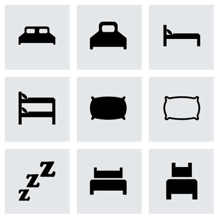Vector bed icon set on grey background Vector