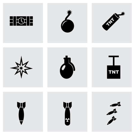 hijack: Vector bomb icon set on grey background Illustration
