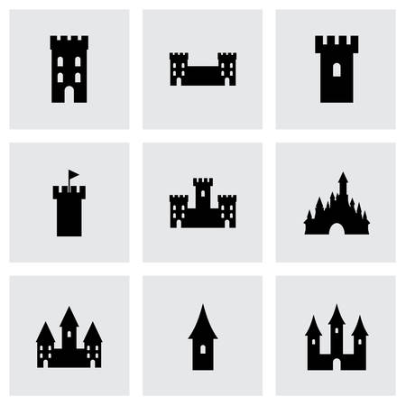 Vector castle icon set on grey background Vector