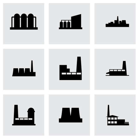 Vector factory icon set on grey background Vector