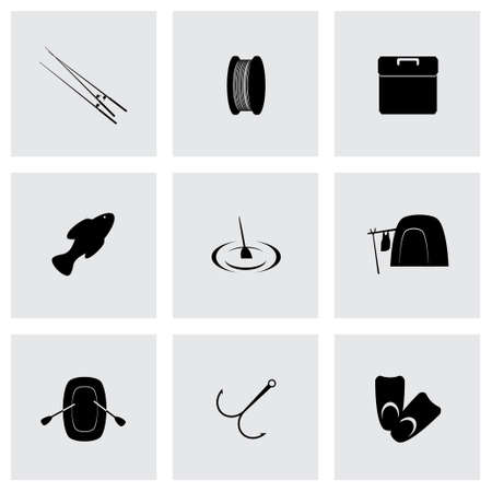 Vector fishing icon set on grey background Vector