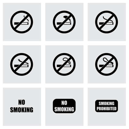 alerting: Vector no smoking icon set on grey background Illustration