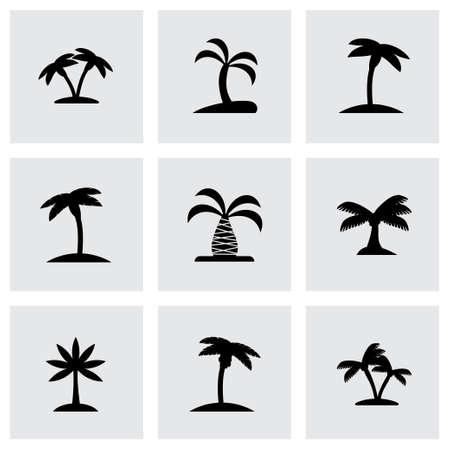 albero da frutto: Vector icon set di palma su sfondo grigio