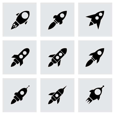 Vector rocket icon set on grey background