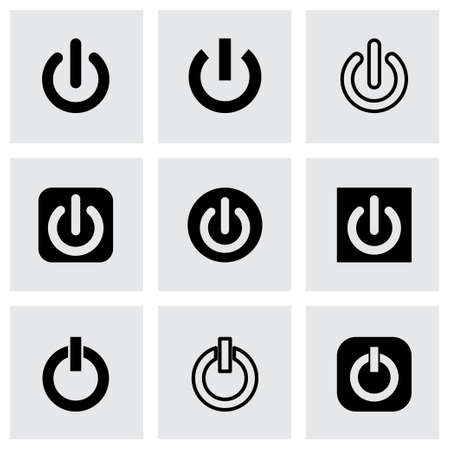 Vector shut down icon set on grey background Vector